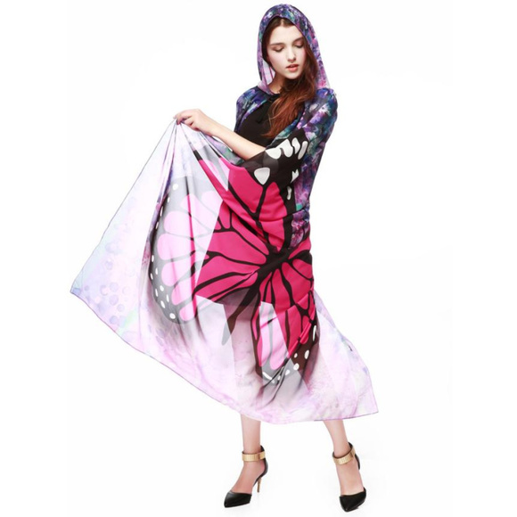 841063d68 Jackets & Coats | Transparent Mesh Butterfly Wings Cape Shawl Robe ...